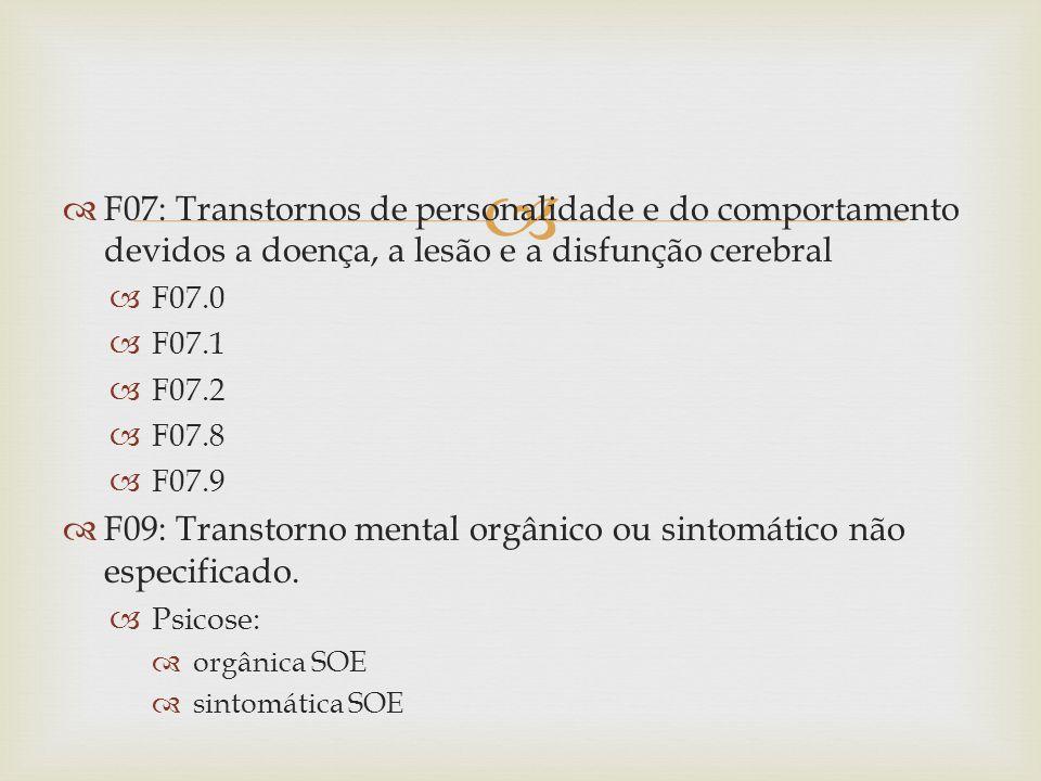 F09: Transtorno mental orgânico ou sintomático não especificado.