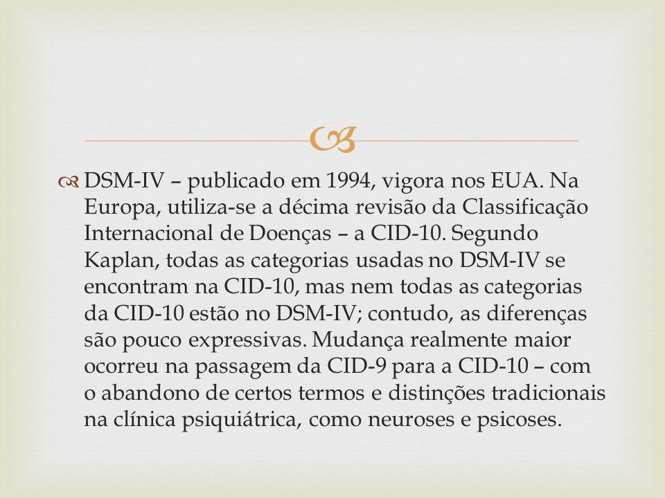 DSM-IV – publicado em 1994, vigora nos EUA