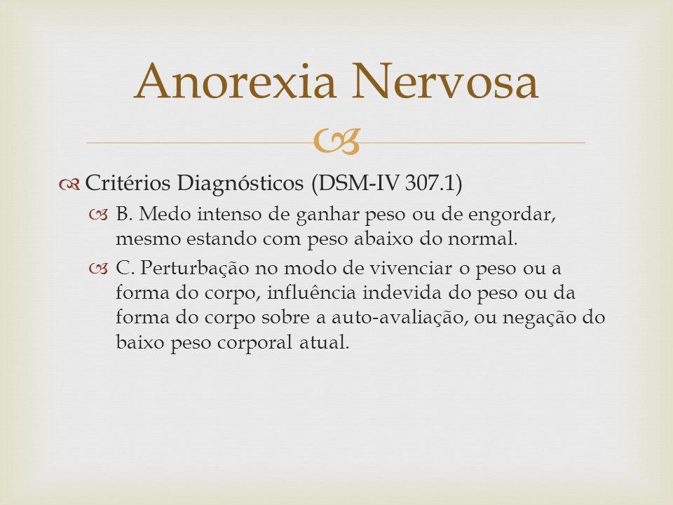 Anorexia Nervosa Critérios Diagnósticos (DSM-IV 307.1)