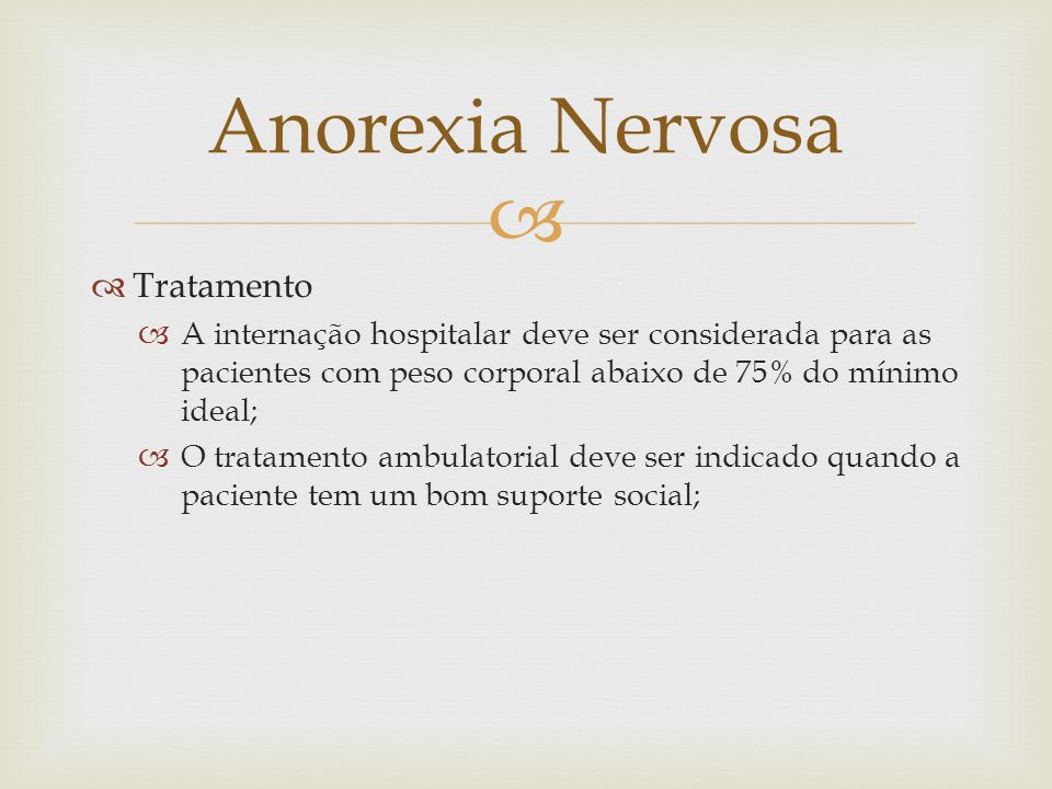 Anorexia Nervosa Tratamento