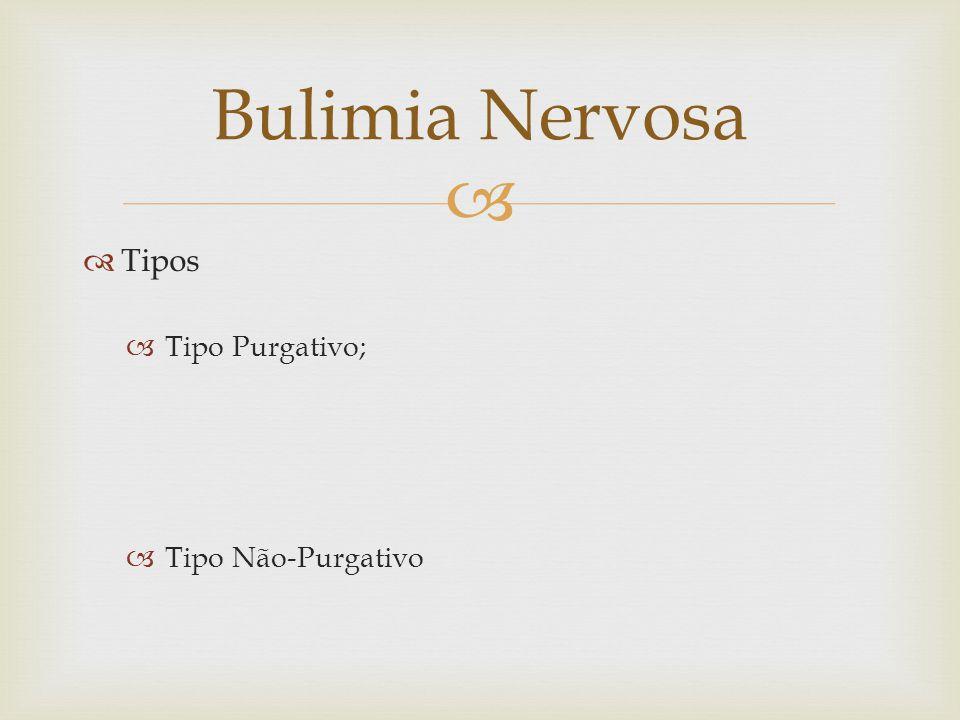 Bulimia Nervosa Tipos Tipo Purgativo; Tipo Não-Purgativo