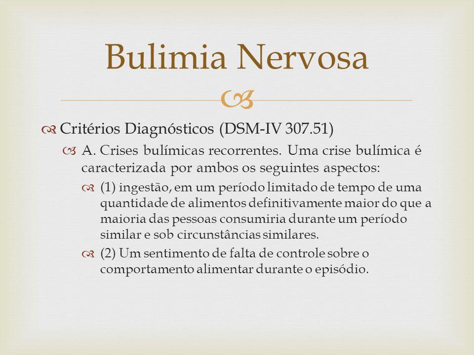 Bulimia Nervosa Critérios Diagnósticos (DSM-IV 307.51)