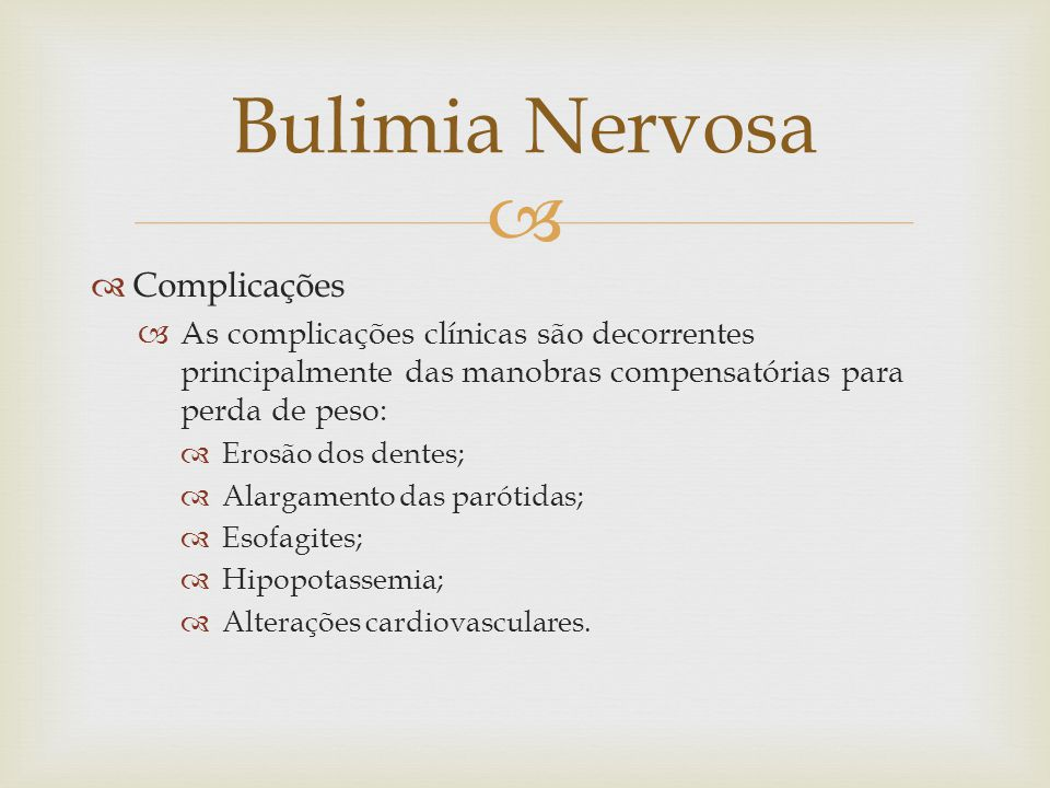 Bulimia Nervosa Complicações