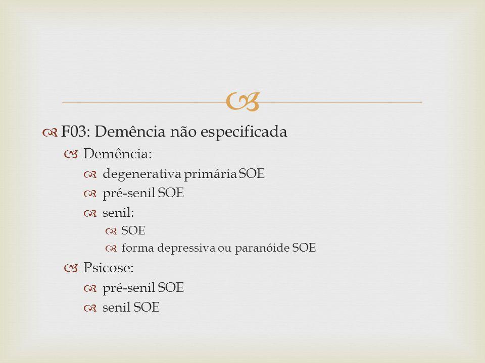 F03: Demência não especificada