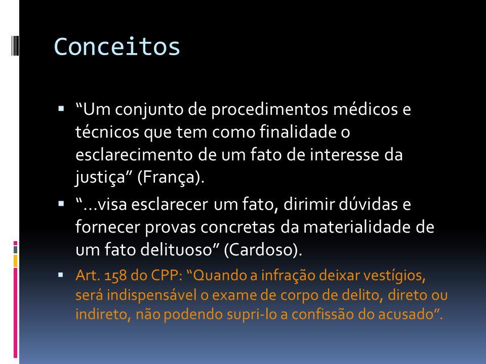 Conceitos Um conjunto de procedimentos médicos e técnicos que tem como finalidade o esclarecimento de um fato de interesse da justiça (França).
