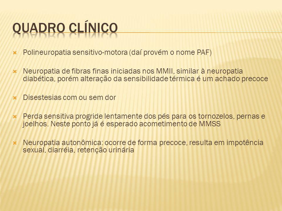 Quadro clínico Polineuropatia sensitivo-motora (daí provém o nome PAF)