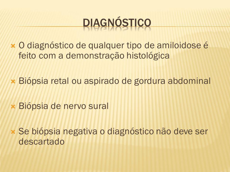 Diagnóstico O diagnóstico de qualquer tipo de amiloidose é feito com a demonstração histológica. Biópsia retal ou aspirado de gordura abdominal.