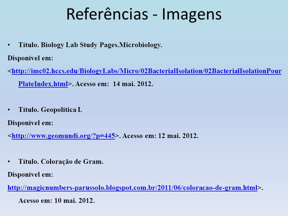 Referências - Imagens Título. Biology Lab Study Pages.Microbiology.