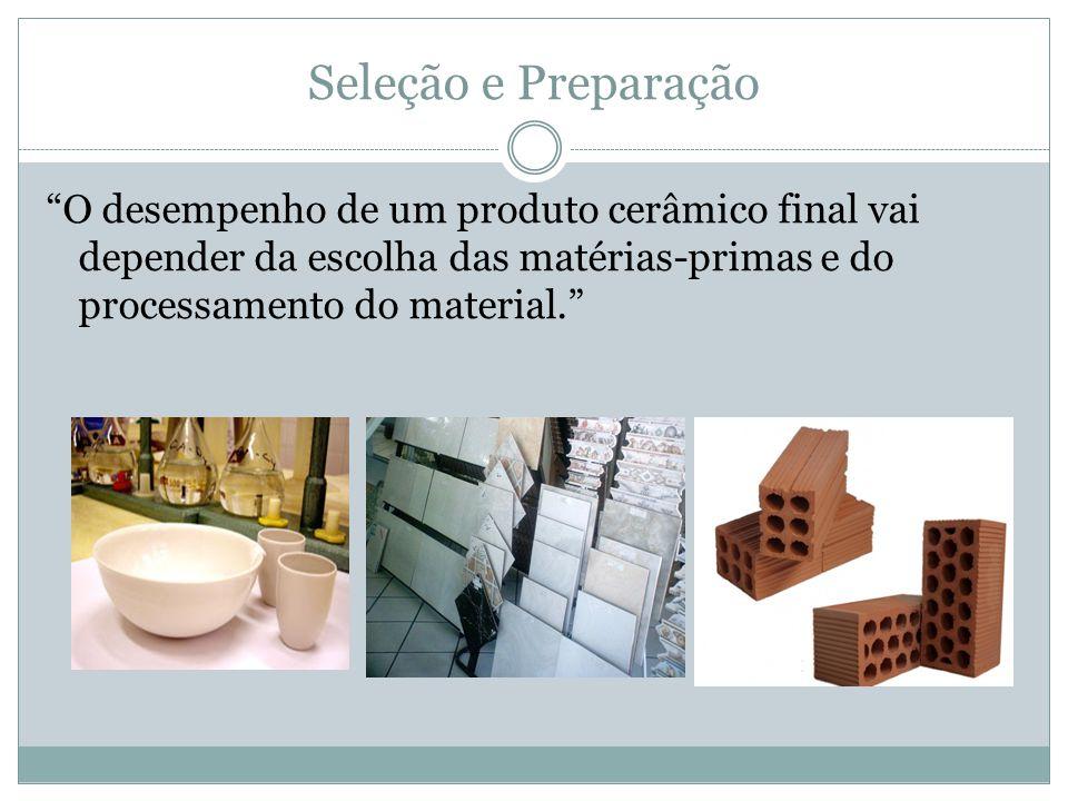 Seleção e Preparação O desempenho de um produto cerâmico final vai depender da escolha das matérias-primas e do processamento do material.