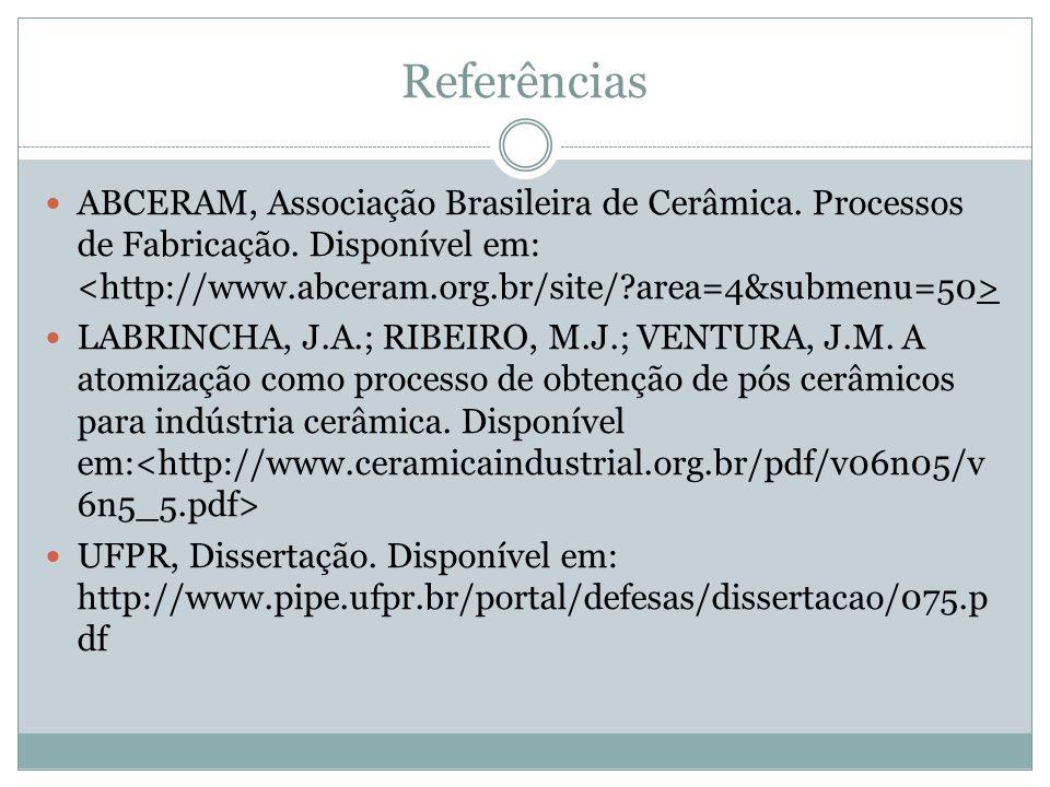 Referências ABCERAM, Associação Brasileira de Cerâmica. Processos de Fabricação. Disponível em: <http://www.abceram.org.br/site/ area=4&submenu=50>