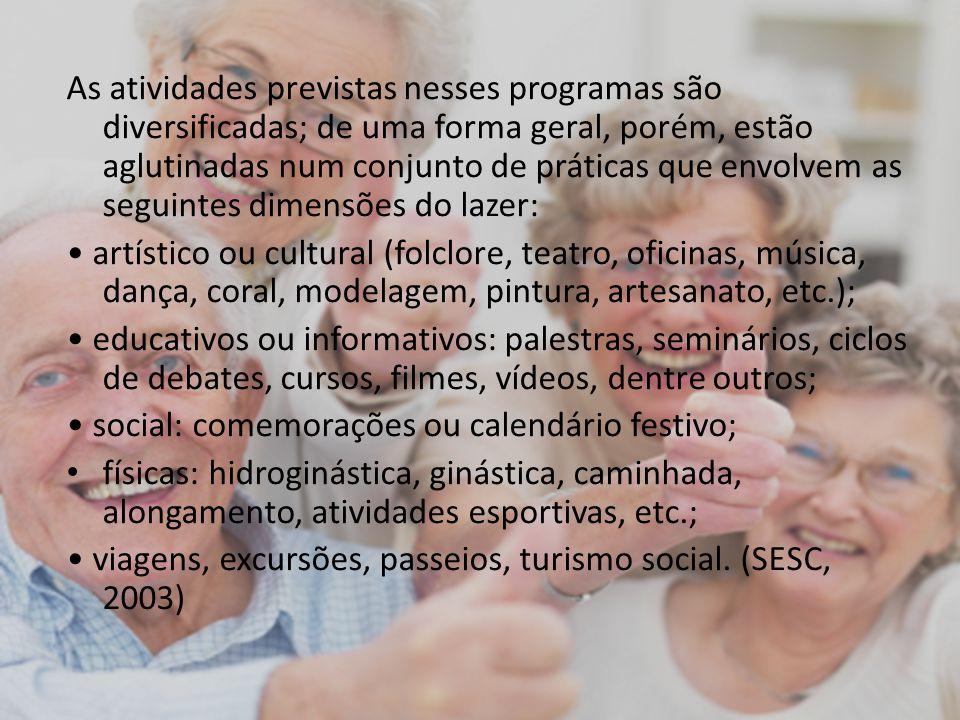 As atividades previstas nesses programas são diversificadas; de uma forma geral, porém, estão aglutinadas num conjunto de práticas que envolvem as seguintes dimensões do lazer: