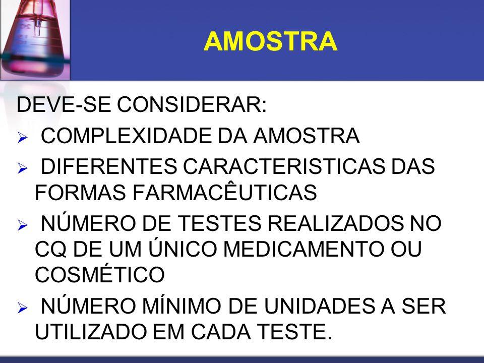 AMOSTRA DEVE-SE CONSIDERAR: COMPLEXIDADE DA AMOSTRA