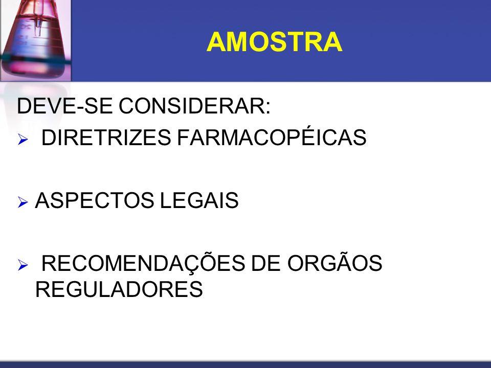 AMOSTRA DEVE-SE CONSIDERAR: DIRETRIZES FARMACOPÉICAS ASPECTOS LEGAIS