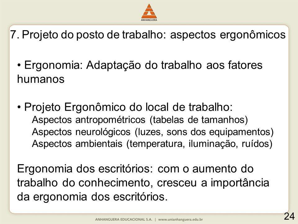 7. Projeto do posto de trabalho: aspectos ergonômicos