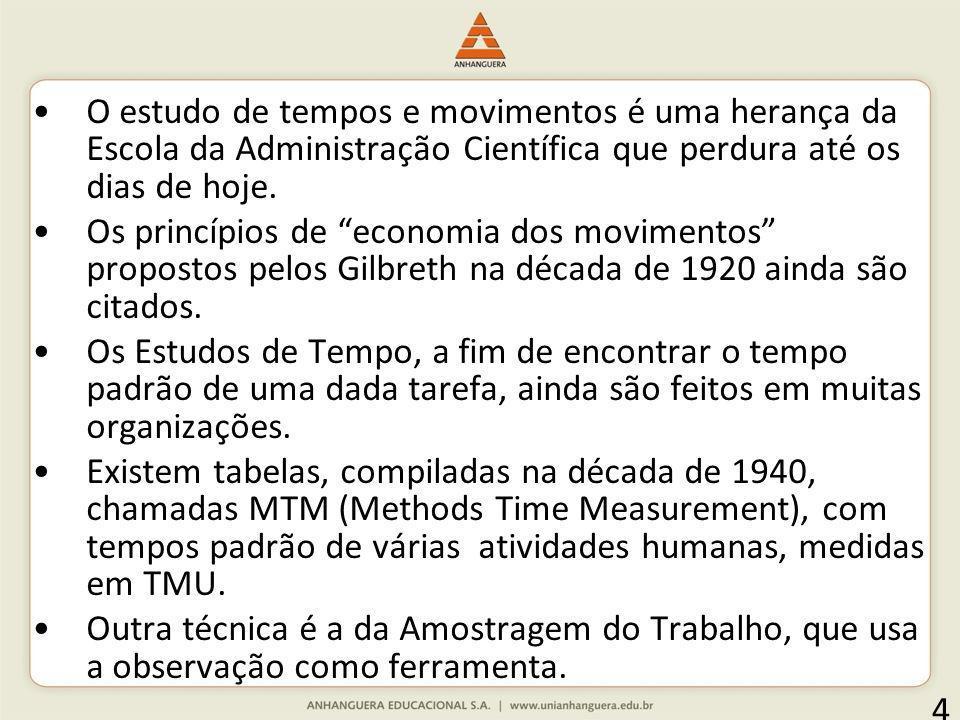 O estudo de tempos e movimentos é uma herança da Escola da Administração Científica que perdura até os dias de hoje.