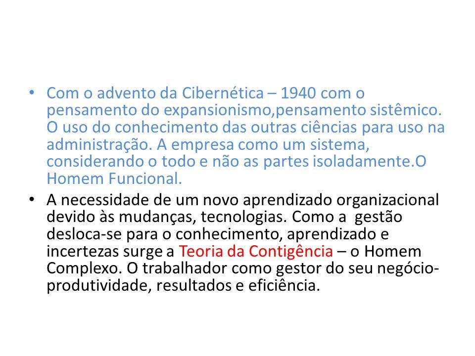 Com o advento da Cibernética – 1940 com o pensamento do expansionismo,pensamento sistêmico. O uso do conhecimento das outras ciências para uso na administração. A empresa como um sistema, considerando o todo e não as partes isoladamente.O Homem Funcional.