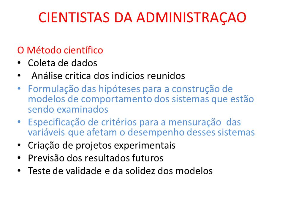 CIENTISTAS DA ADMINISTRAÇAO
