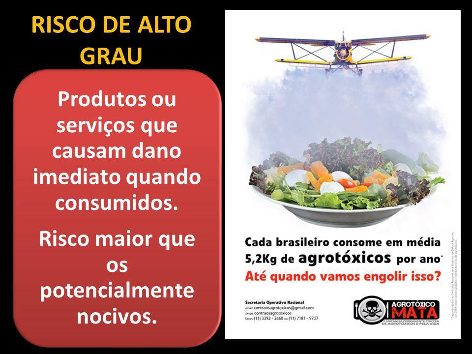 RISCO DE ALTO GRAU Produtos ou serviços que causam dano imediato quando consumidos.