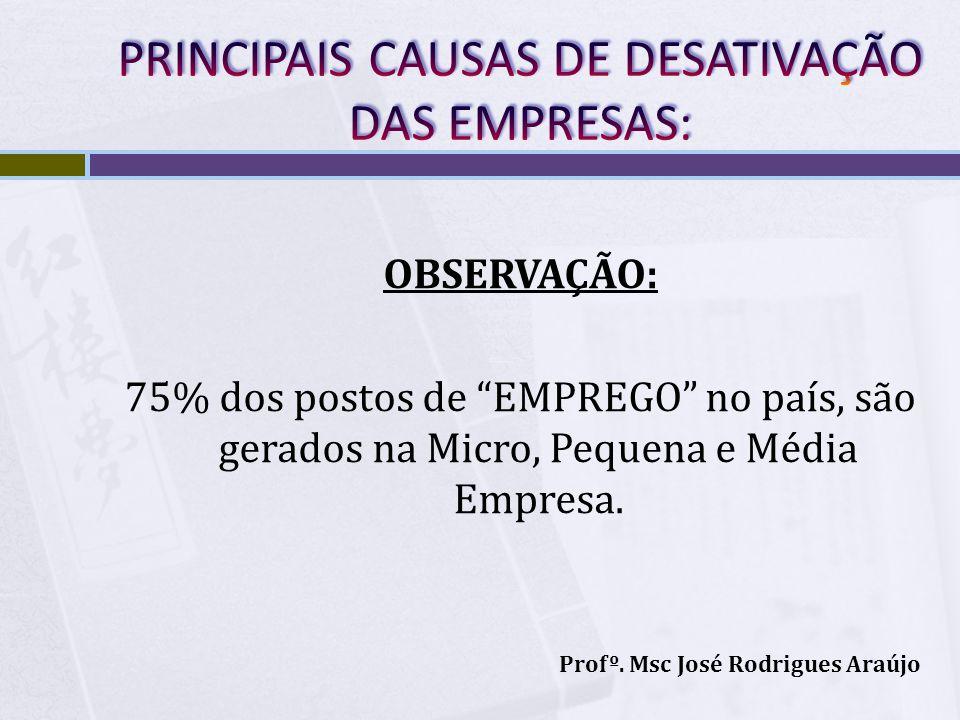 PRINCIPAIS CAUSAS DE DESATIVAÇÃO DAS EMPRESAS: