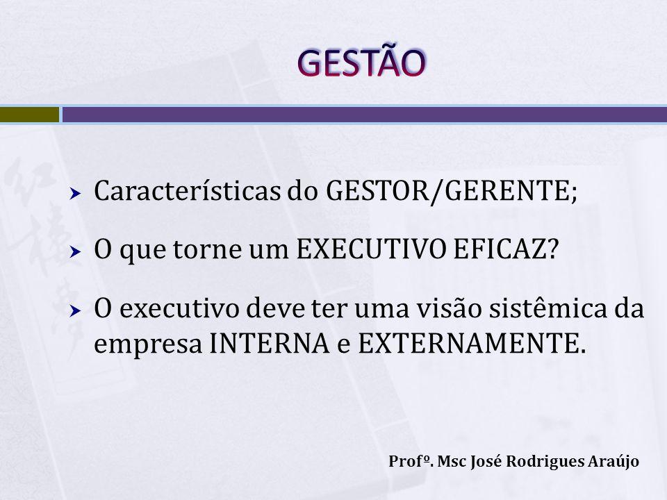 GESTÃO Características do GESTOR/GERENTE;