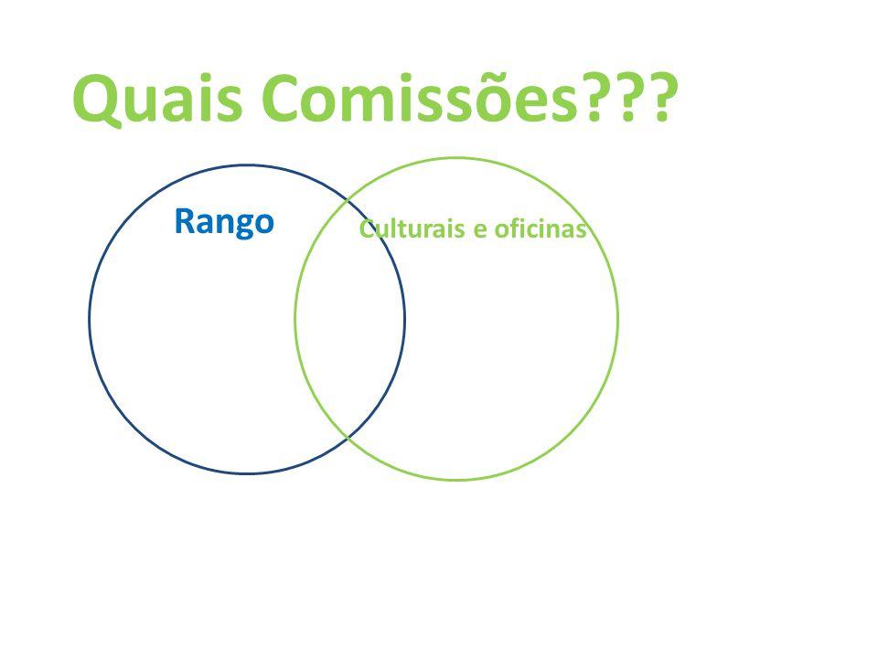 Quais Comissões Rango Culturais e oficinas
