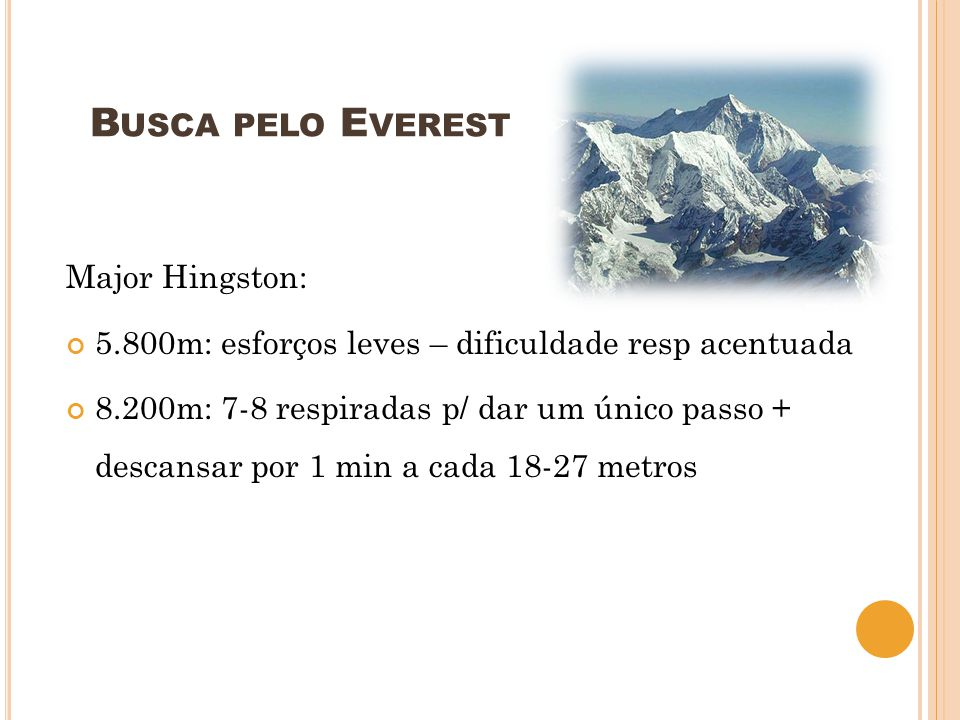Busca pelo Everest Major Hingston:
