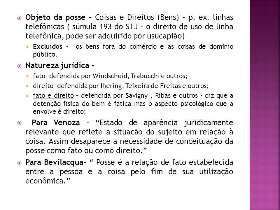 Objeto da posse – Coisas e Direitos (Bens) – p. ex