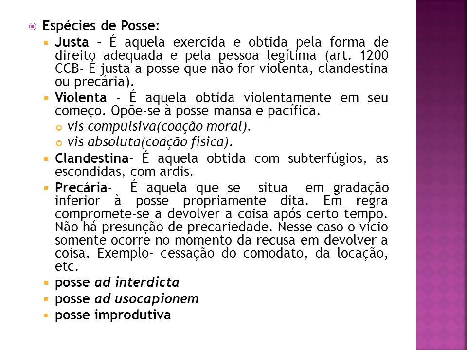 Espécies de Posse: