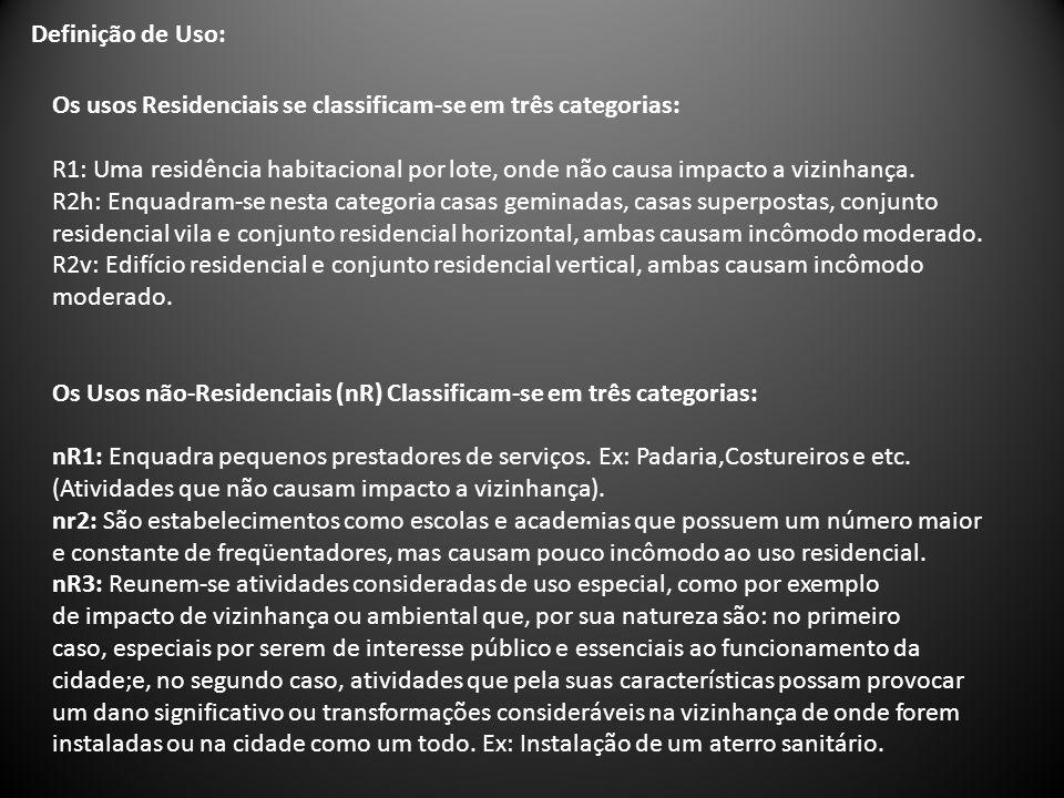 Definição de Uso: Os usos Residenciais se classificam-se em três categorias: