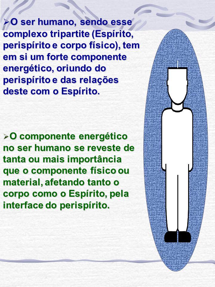 O ser humano, sendo esse complexo tripartite (Espírito, perispírito e corpo físico), tem em si um forte componente energético, oriundo do perispírito e das relações deste com o Espírito.