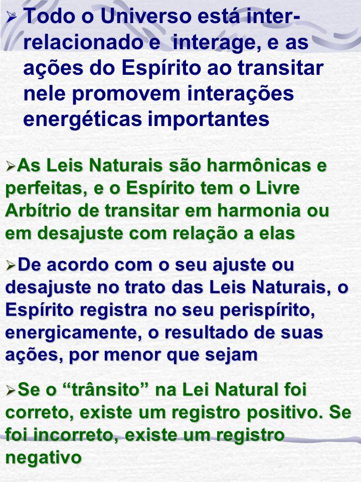 Todo o Universo está inter-relacionado e interage, e as ações do Espírito ao transitar nele promovem interações energéticas importantes