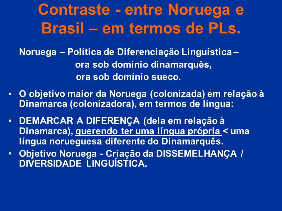 Contraste - entre Noruega e Brasil – em termos de PLs.