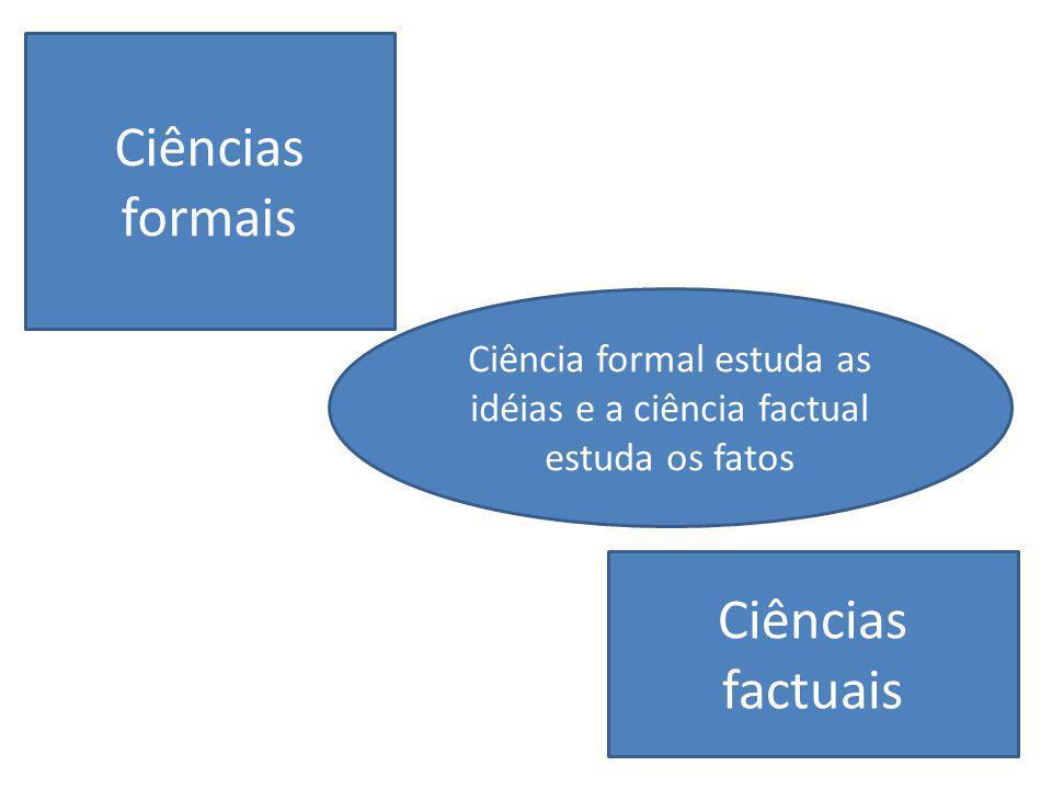 Ciência formal estuda as idéias e a ciência factual estuda os fatos