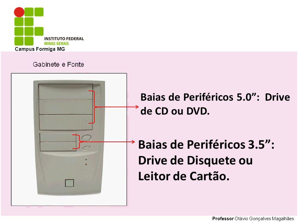 Baias de Periféricos 3.5 : Drive de Disquete ou Leitor de Cartão.