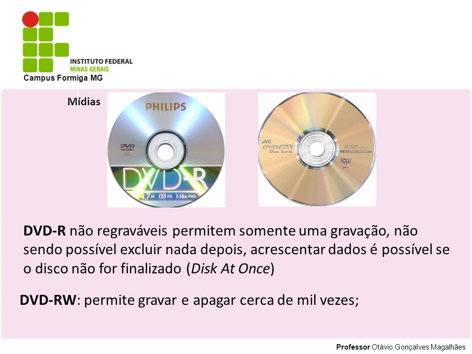 DVD-RW: permite gravar e apagar cerca de mil vezes;