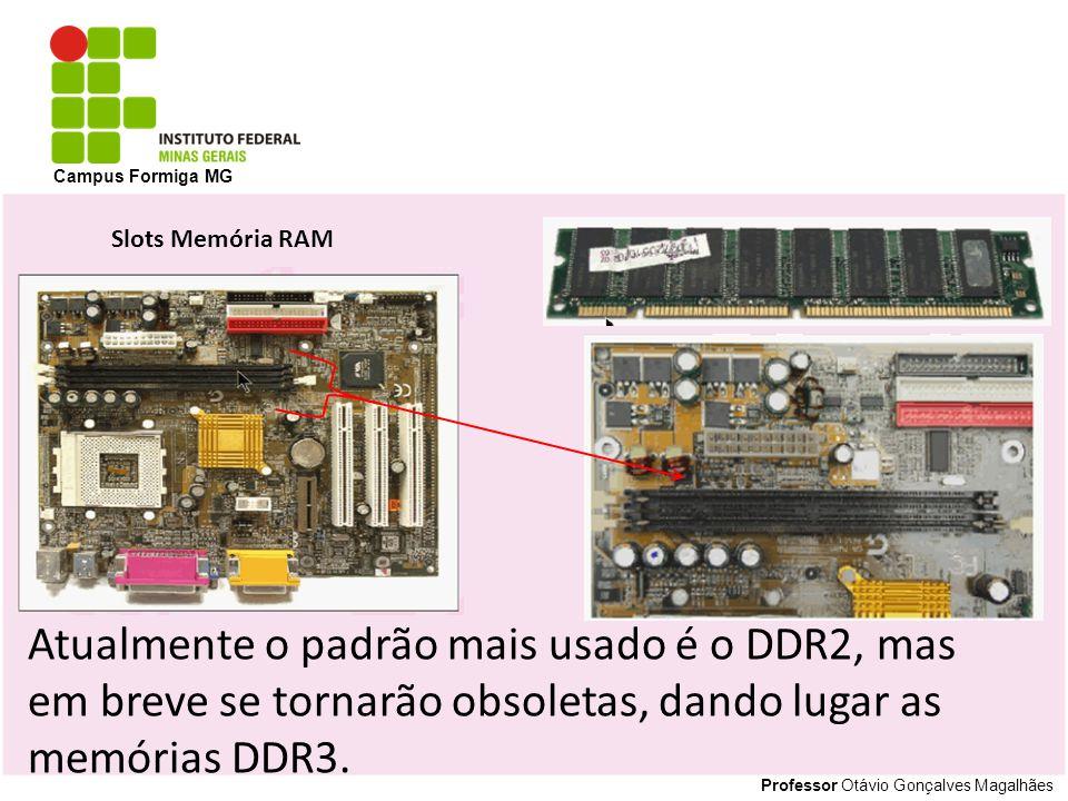 Campus Formiga MG Slots Memória RAM. Atualmente o padrão mais usado é o DDR2, mas em breve se tornarão obsoletas, dando lugar as memórias DDR3.