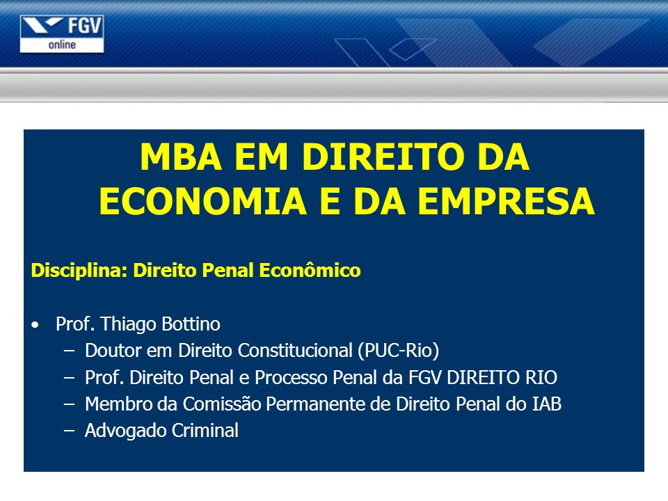 MBA EM DIREITO DA ECONOMIA E DA EMPRESA