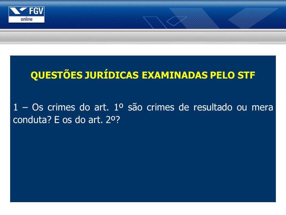 QUESTÕES JURÍDICAS EXAMINADAS PELO STF