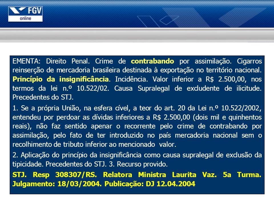 EMENTA: Direito Penal. Crime de contrabando por assimilação