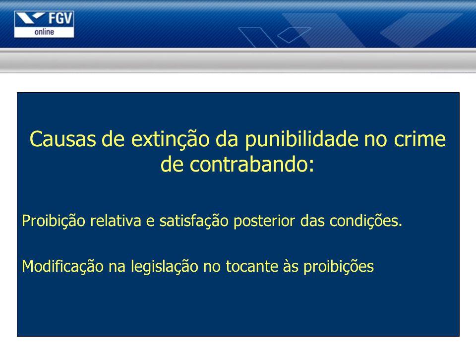 Causas de extinção da punibilidade no crime de contrabando: