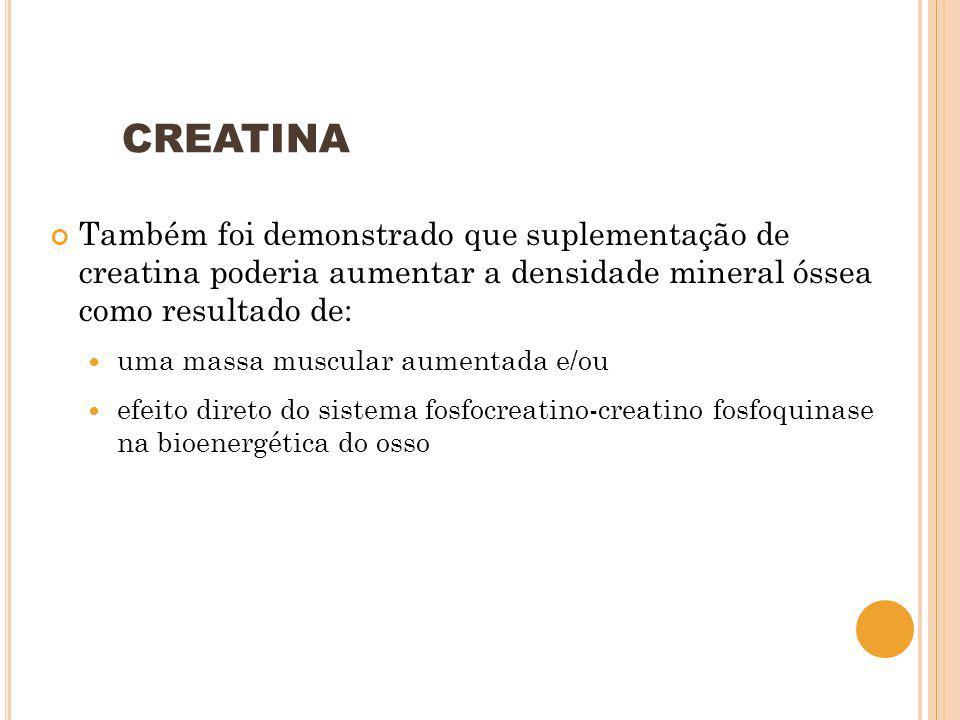 CREATINA Também foi demonstrado que suplementação de creatina poderia aumentar a densidade mineral óssea como resultado de: