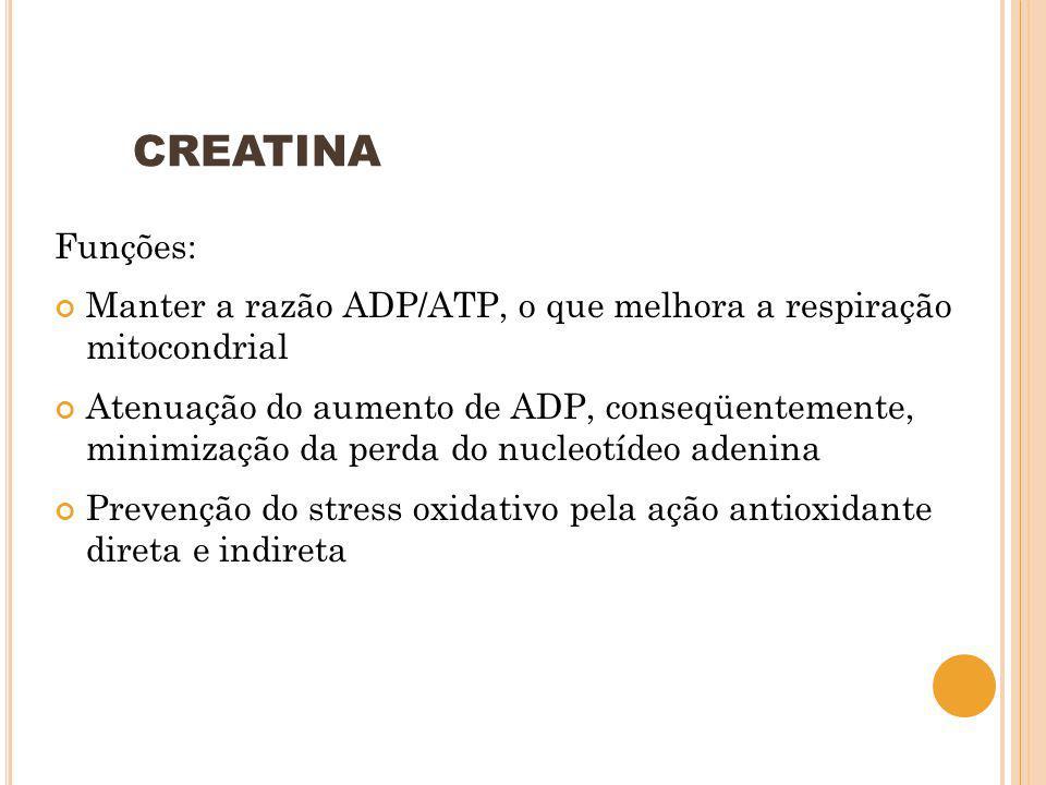 CREATINA Funções: Manter a razão ADP/ATP, o que melhora a respiração mitocondrial.