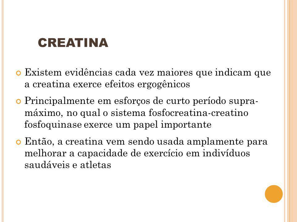 CREATINA Existem evidências cada vez maiores que indicam que a creatina exerce efeitos ergogênicos.