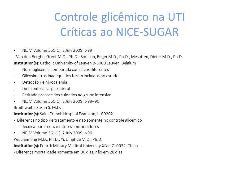 Controle glicêmico na UTI Críticas ao NICE-SUGAR