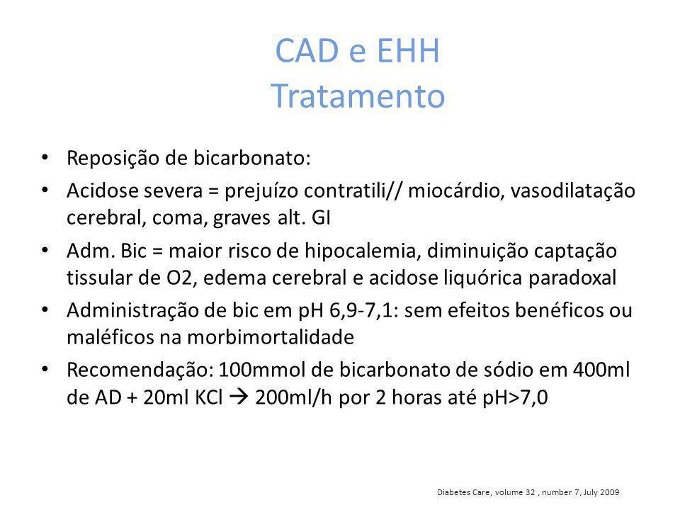 CAD e EHH Tratamento Reposição de bicarbonato: