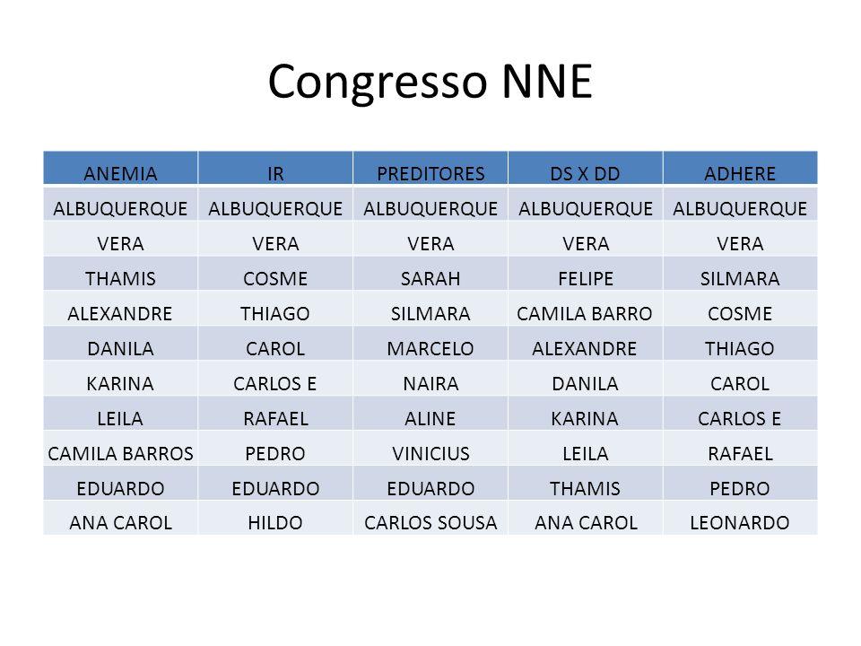 Congresso NNE ANEMIA IR PREDITORES DS X DD ADHERE ALBUQUERQUE VERA