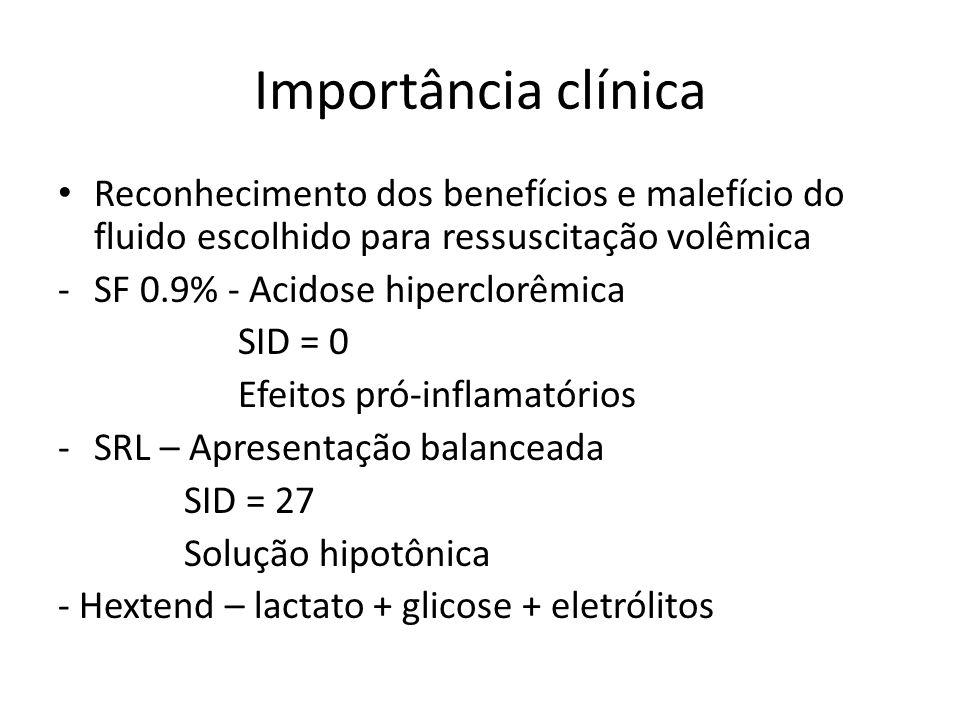 Importância clínica Reconhecimento dos benefícios e malefício do fluido escolhido para ressuscitação volêmica.