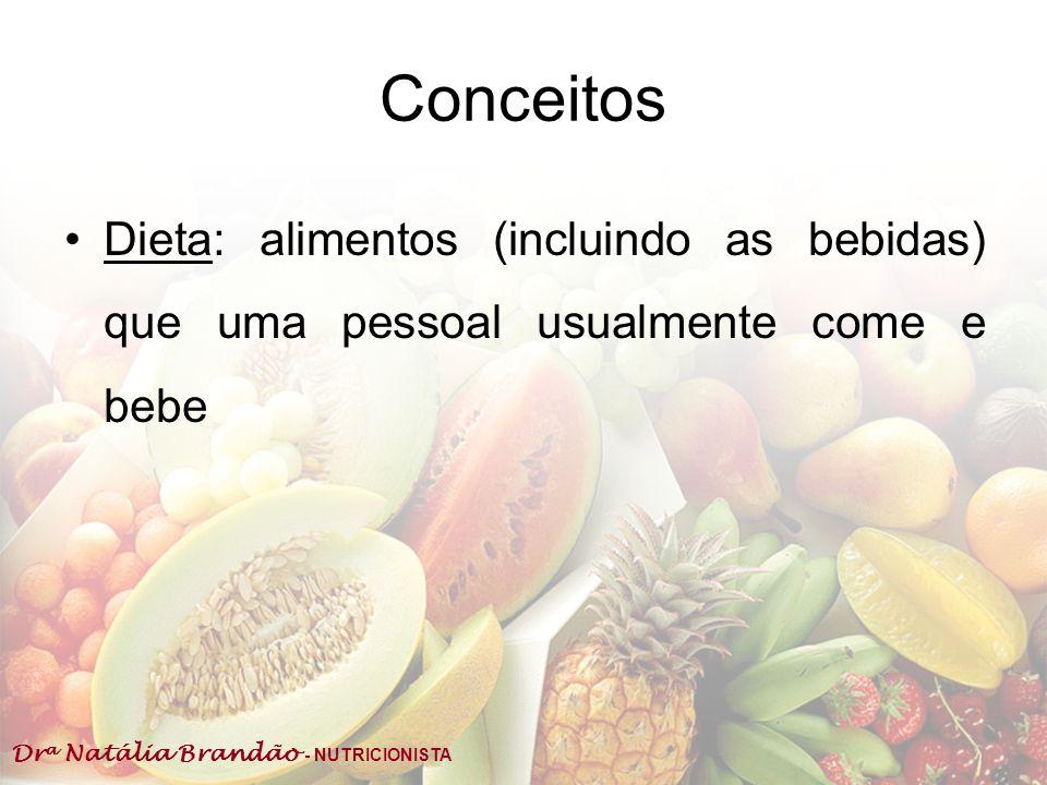 Conceitos Dieta: alimentos (incluindo as bebidas) que uma pessoal usualmente come e bebe