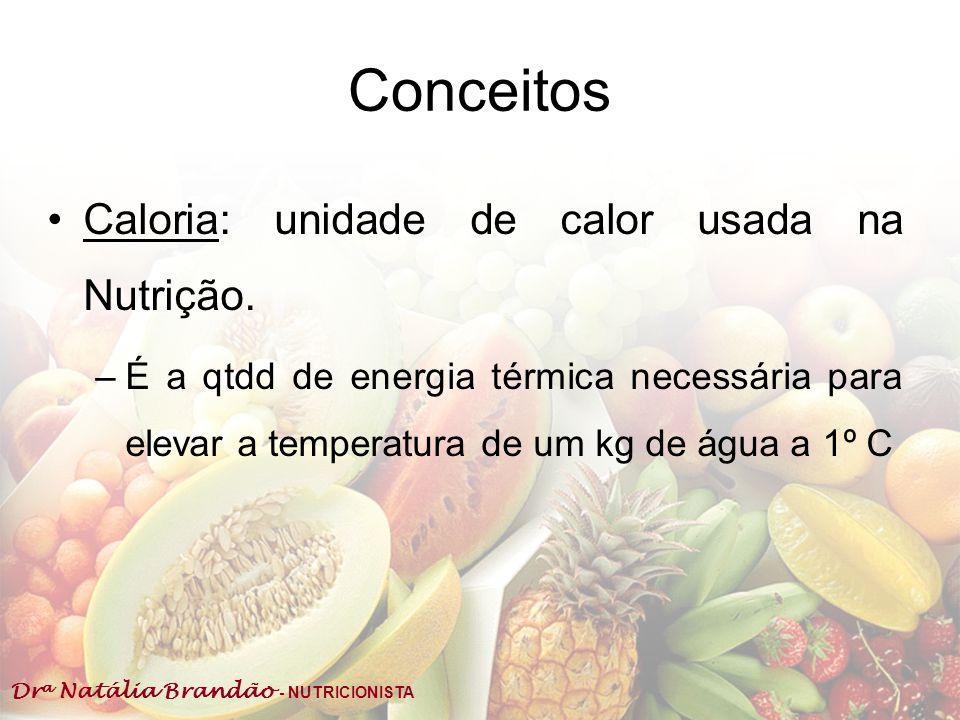 Conceitos Caloria: unidade de calor usada na Nutrição.