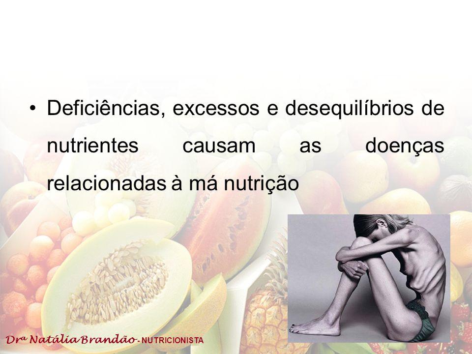 Deficiências, excessos e desequilíbrios de nutrientes causam as doenças relacionadas à má nutrição